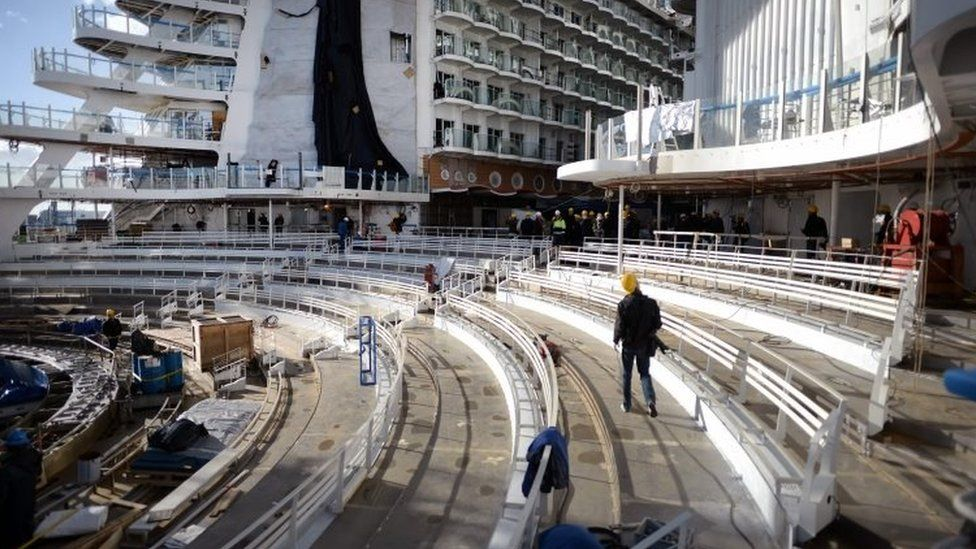 Building works on one of Harmony's decks. Photo: February 2016