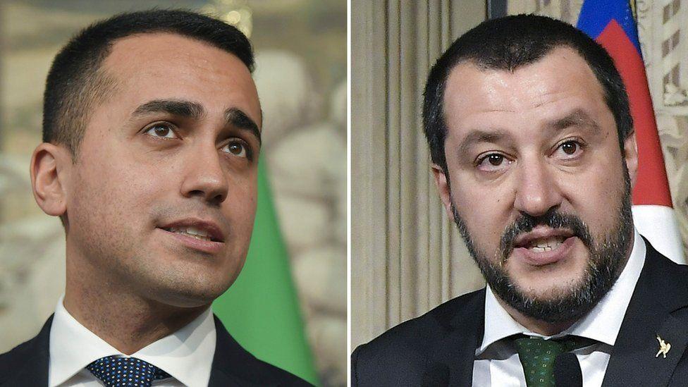 The leader of the Five Star Movement, Luigi Di Maio (L), and the League's Matteo Salvini