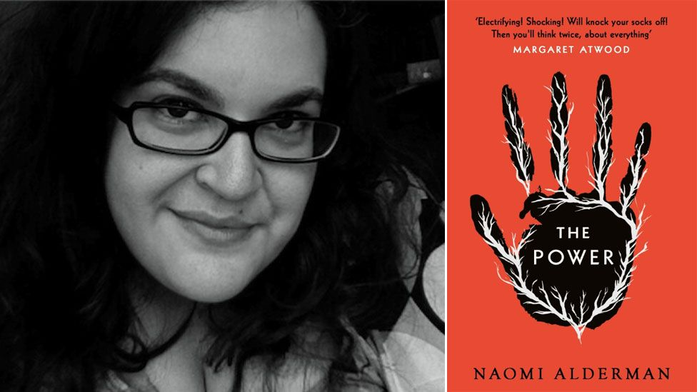 Naomi Alderman with book cover for The Power