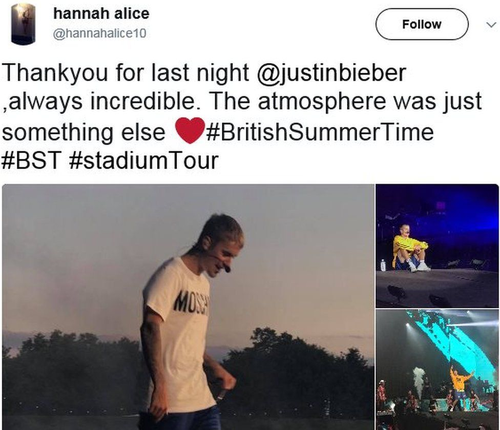 Hannah Alice's tweet with Justin Bieber pictures