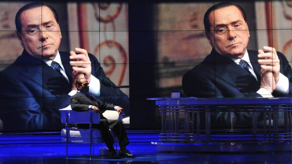 Former Italian Prime Minister Silvio Berlusconi appears on Italian TV in April 2014