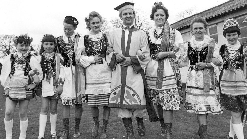 Polish man and women in national costume