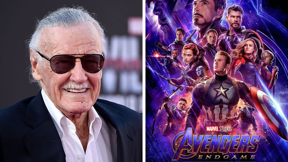 Stan Lee and the poster for Avengers: Endgame