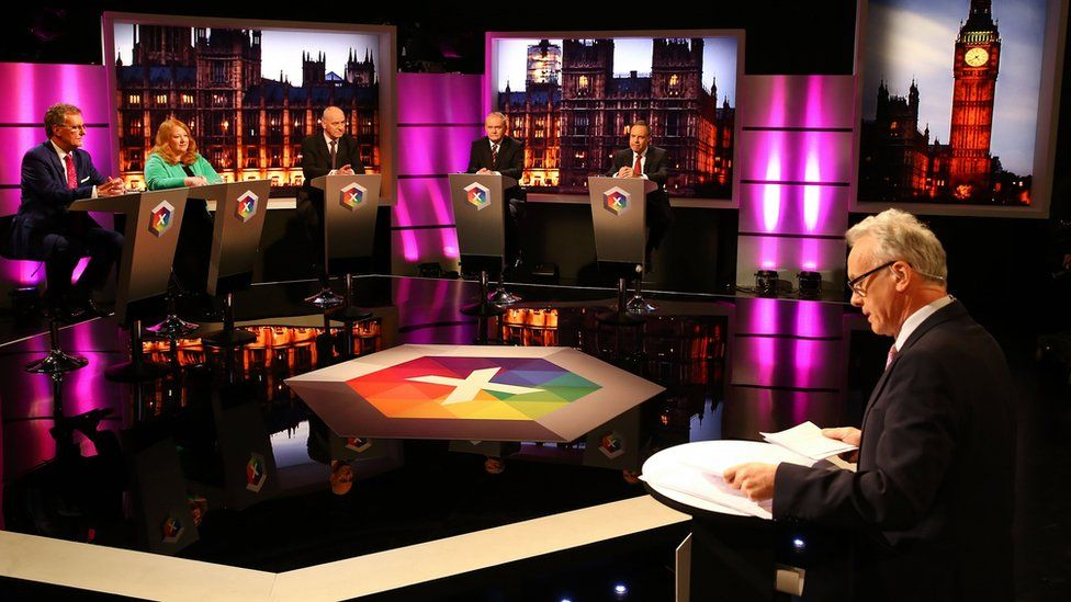 Noel chairing the party leaders debate for BBC Northern Ireland ahead of the 2015 general election