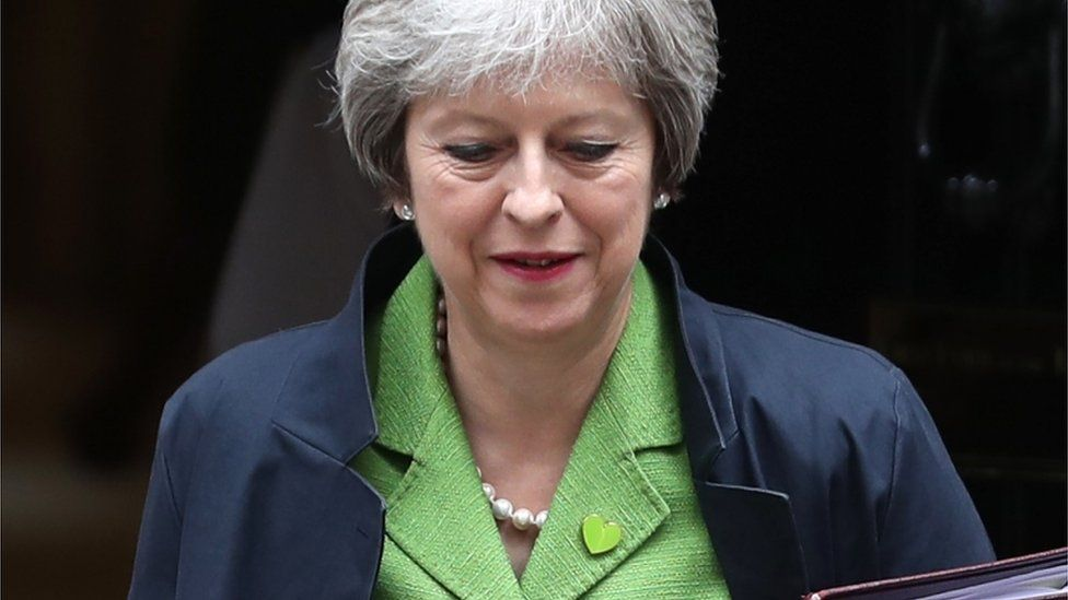 Theresa May outside Downing Street ahead of Tuesday's vote