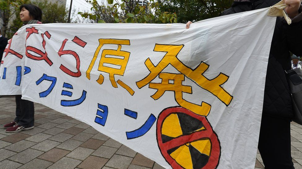 Protesters with anti-nuclear banner