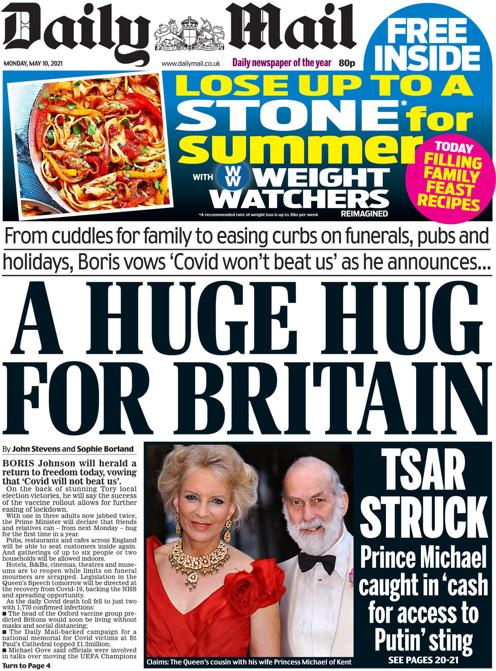 The Daily Mail front page 10 May 2021