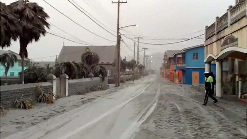Ash covers roads a day after the La Soufriere volcano erupted after decades of inactivity, about 5 miles (8 km) away in Georgetown, St Vincent and the Grenadines April 10, 2021