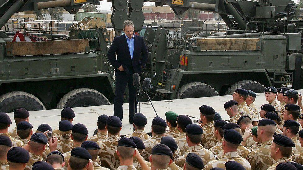 Tony Blair British addressing troops in Basra, Iraq, in 2005.