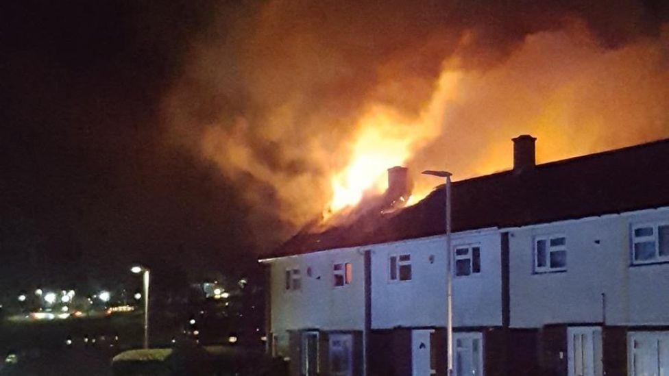 Houses on fire Kirkwall Road