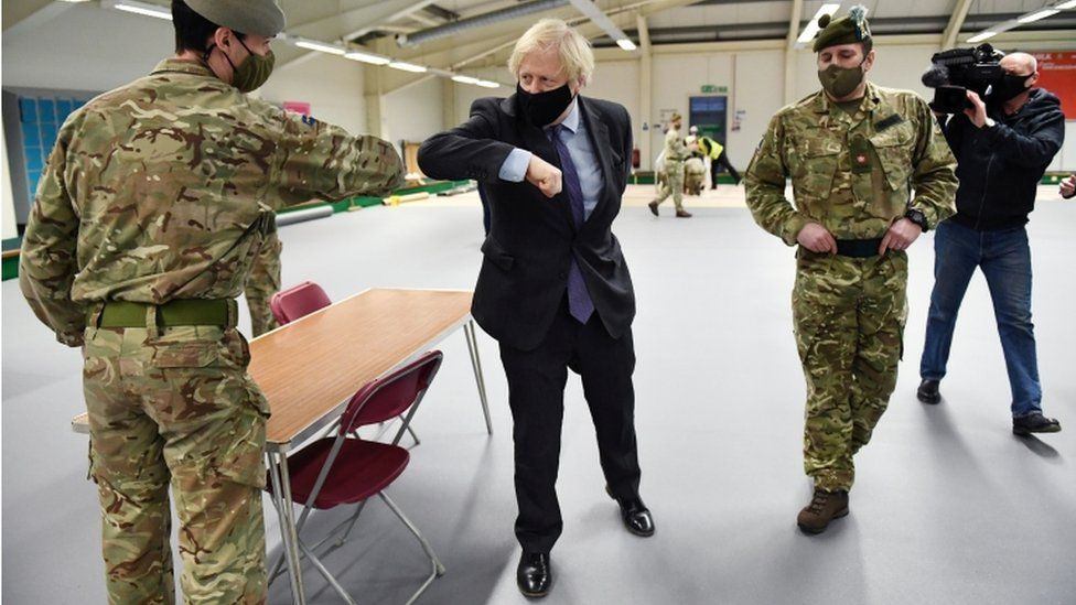 Boris Johnson meeting troops in Castlemilk
