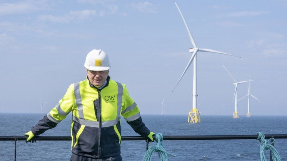 Boris Johnson onboard the Esvagt Alba during a visit to the Moray Offshore Windfarm East