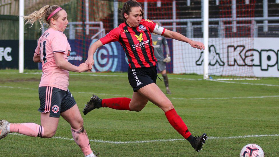 Rhian Cleverly in action for Lewes FC
