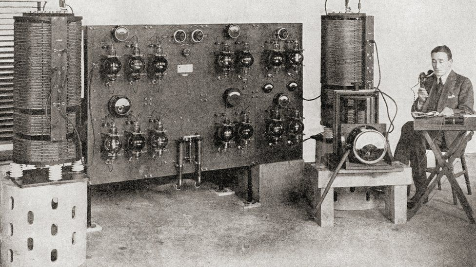 The first broadcast transmitter operated in Great Britain, installed at the Marconi Works, Chelmsford, in 1919 and 1920
