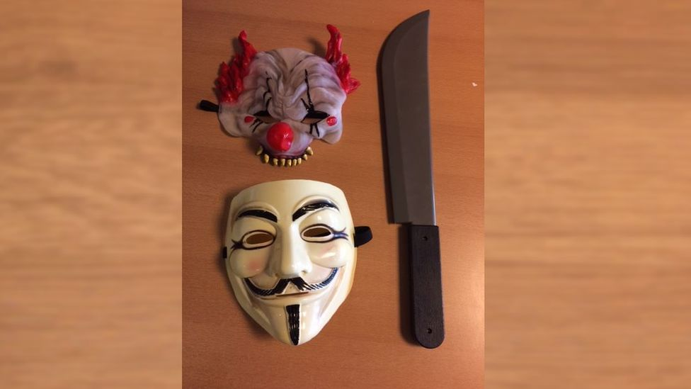 Masks and a plastic machete confiscated by police in Howletch, County Durham