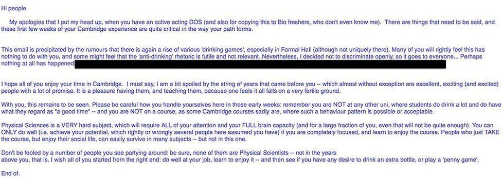 Email to Cambridge University students