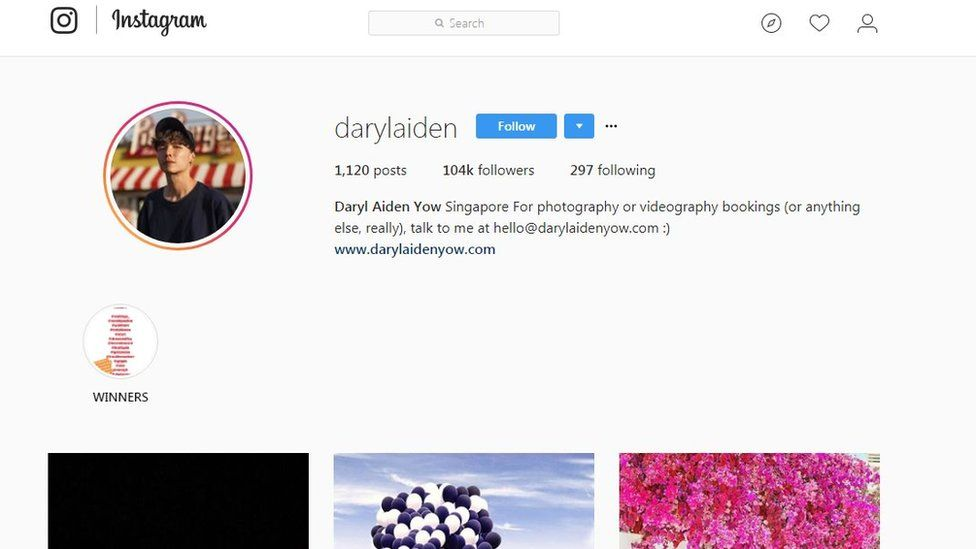 Daryl Aiden Yow Instagram page