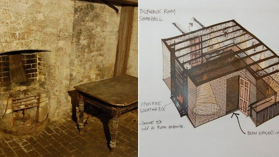 The Tolpuddle Martyrs Cell and an artist's impression of how it might look