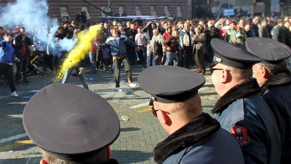 Albanian police face opposition protesters in Tirana. Photo: 8 December 2015