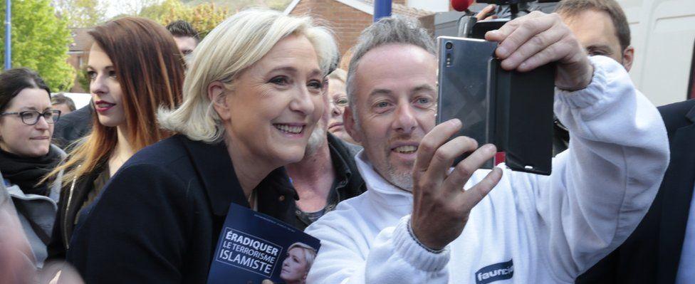 Marine Le Pen meets voters on 24 April