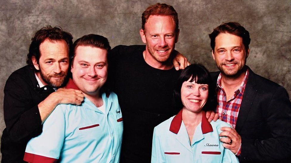 Don and his sister Shawna pose with, Luke Perry, Ian Ziering, Jason Priestley,