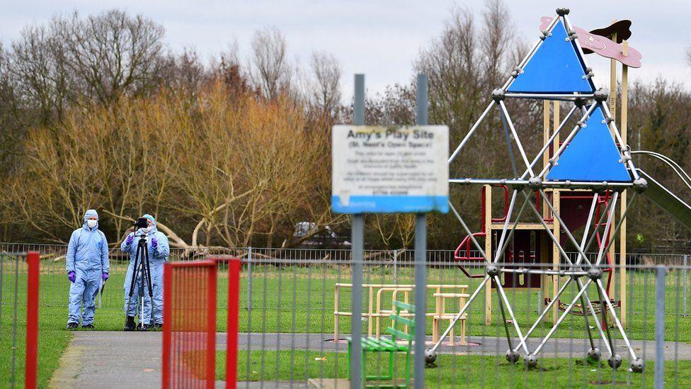 Crime scene at park in Harold Hill