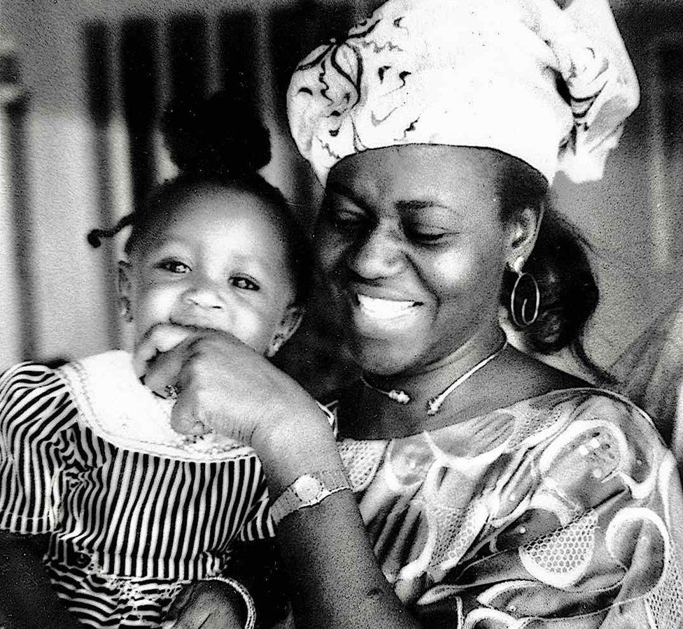 "A photo by Sunmi Smart-Cole entitled: ""First Lady Maryam Babangida, and daughter, Halima, on her first birthday"" - 1991"