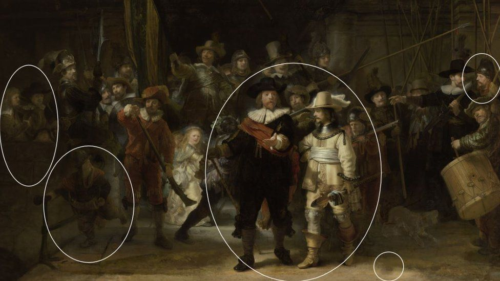 Differences in the new Rembrandt The Night Watch