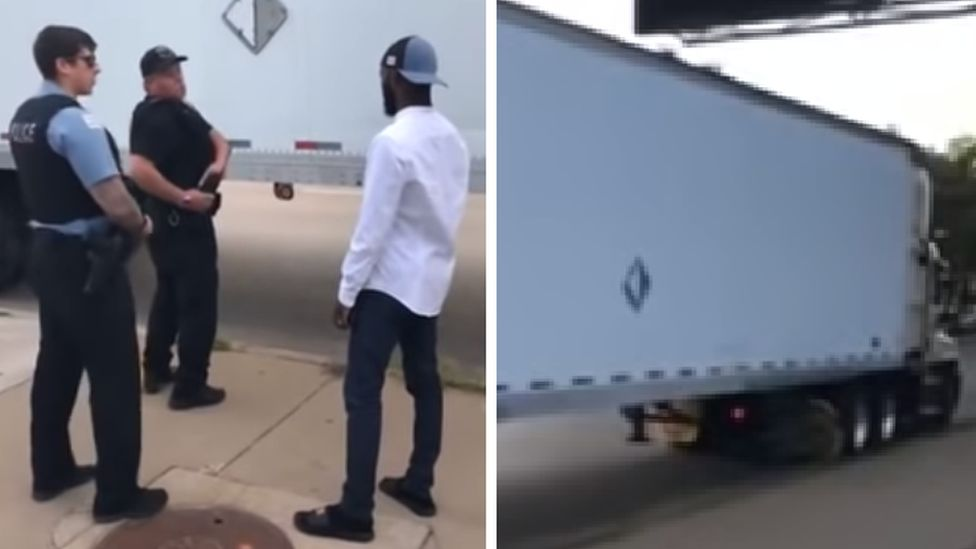 Screengrabs from a video uploaded to YouTube showing residents confronting police about the unmarked truck