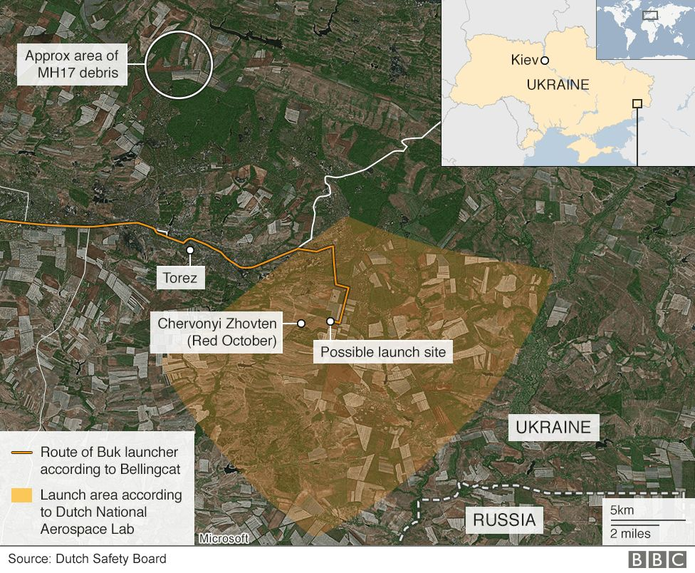Buk launcher route and proposed launch area