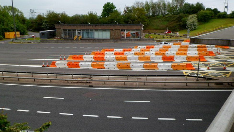 The toll booths at the M48 Severn Bridge
