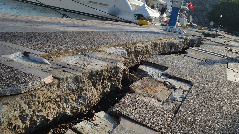 Damage at a port on the island of Kos, Greece, following an earthquake, 21 July 2017