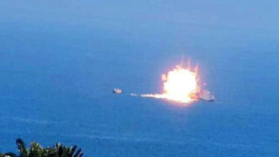 An image purportedly showing a missile hitting an Egyptian vessel