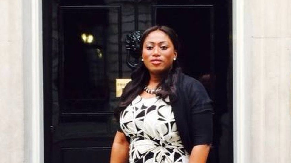 Yvonne Lawson outside number 10 Downing Street