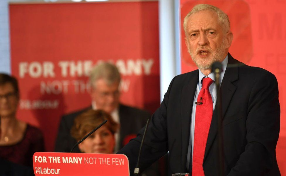 Labour Party leader Jeremy Corbyn speaks at an election campaign event in Basildon