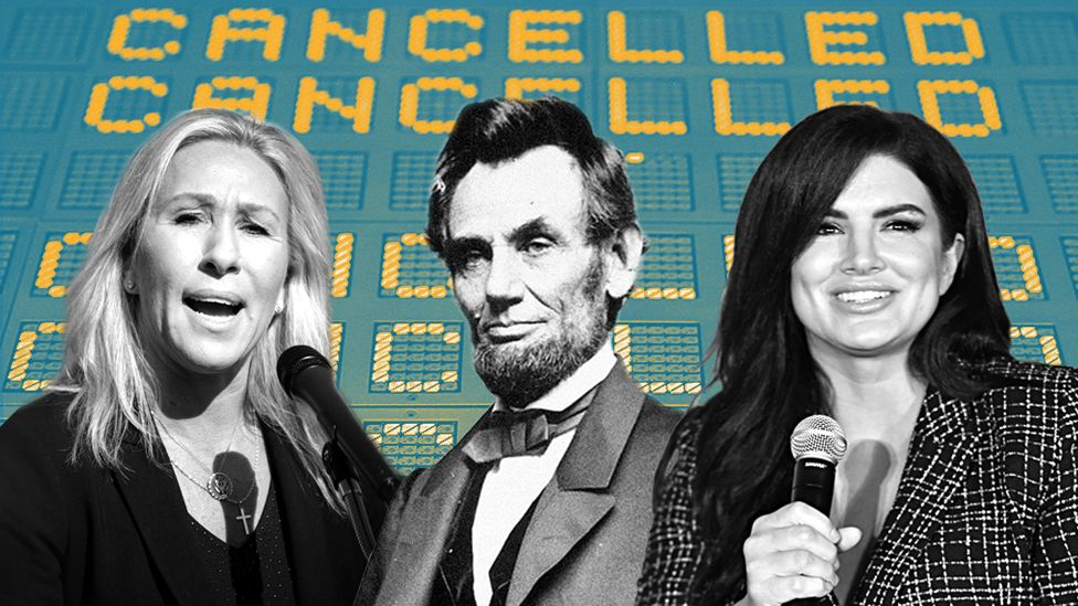 A composite of Marjorie Taylor Greene, Abraham Lincoln and Gina Carano