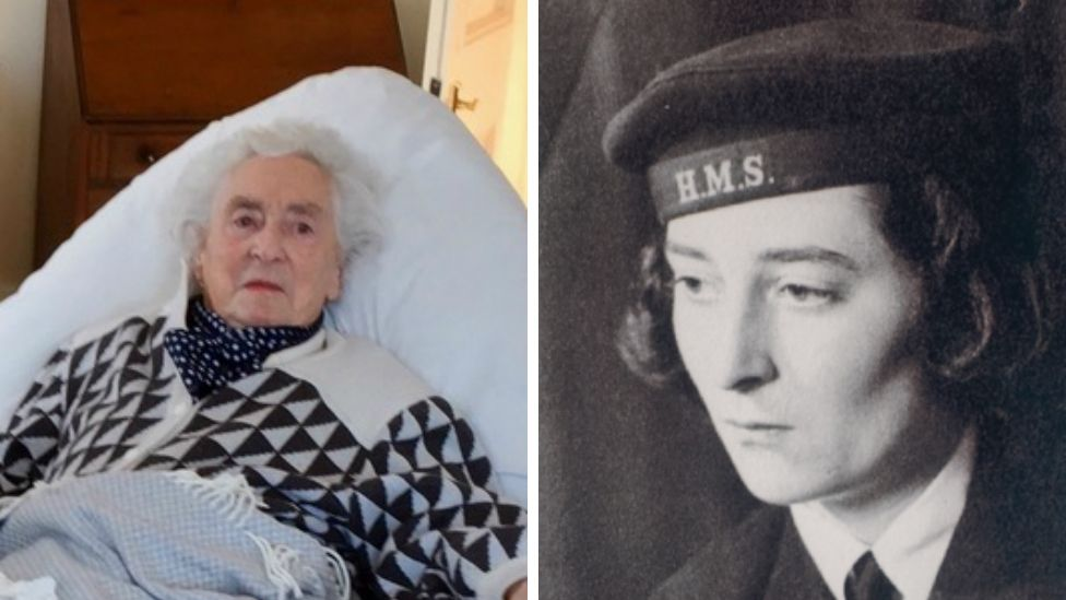 June Wrobel in her room earlier this year, and when she was a Leading Wren with WRNS at Bletchley Park