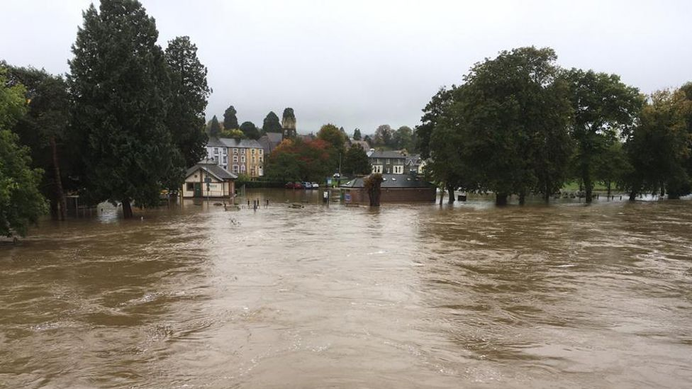 Flood waters in Builth Wells, Powys