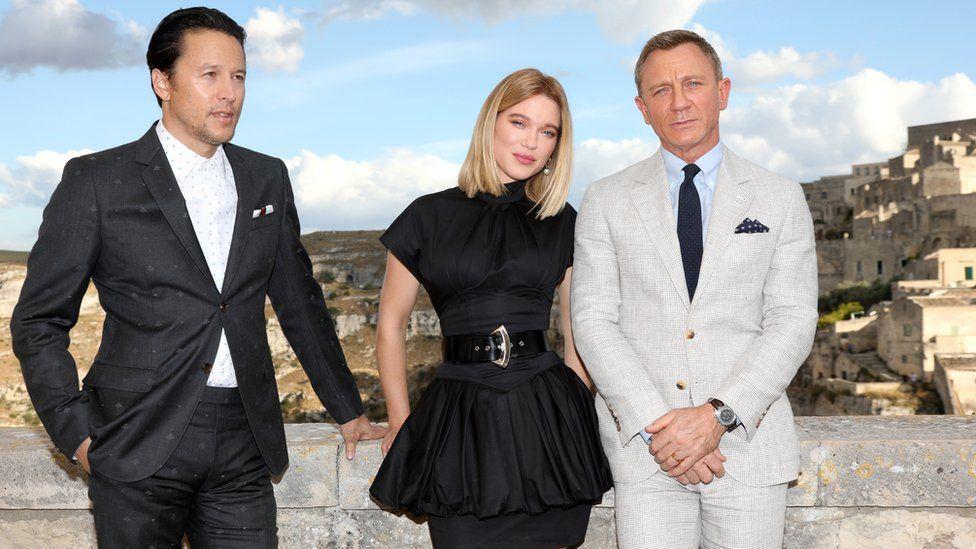 Cary Joji Fukunaga with James Bond stars Lea Seydoux and actor Daniel Craig