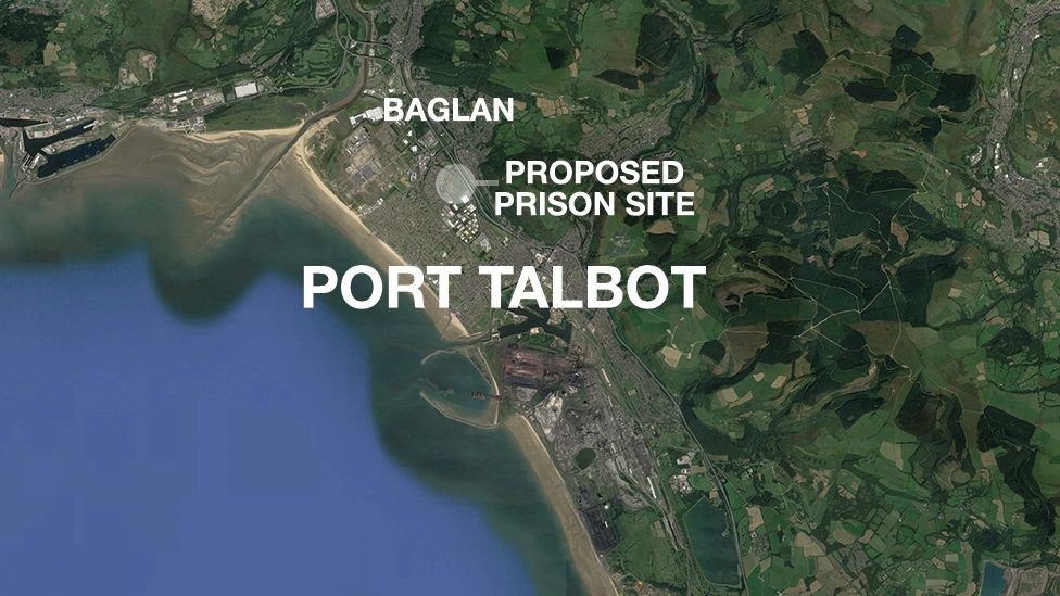 A map showing the proposed Baglan site for the new prison