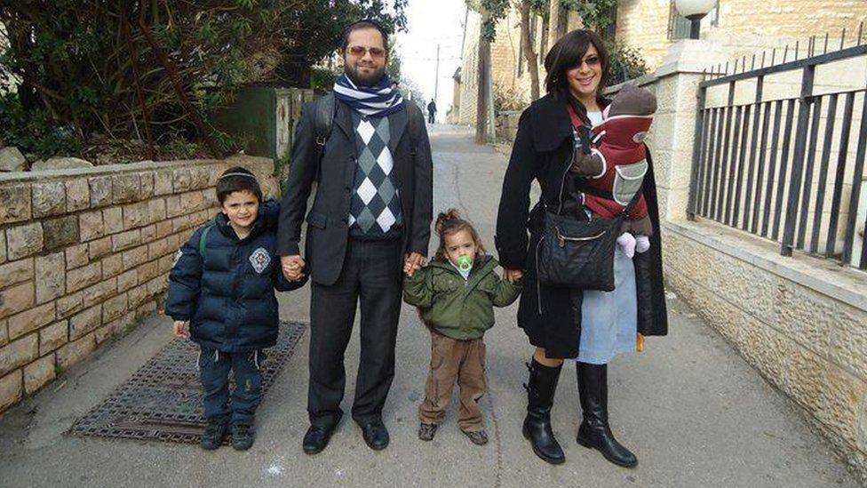 Arieh, Jonathan and Gabriel Sandler (far L, L and C) who were murdered by Merah