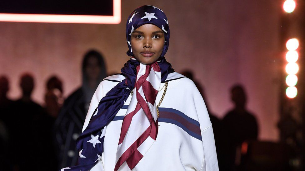 Halima Aden at the Tommy Hilfiger runway