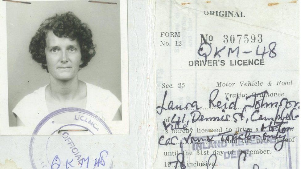 Scanned Guyana driving licence of Laura