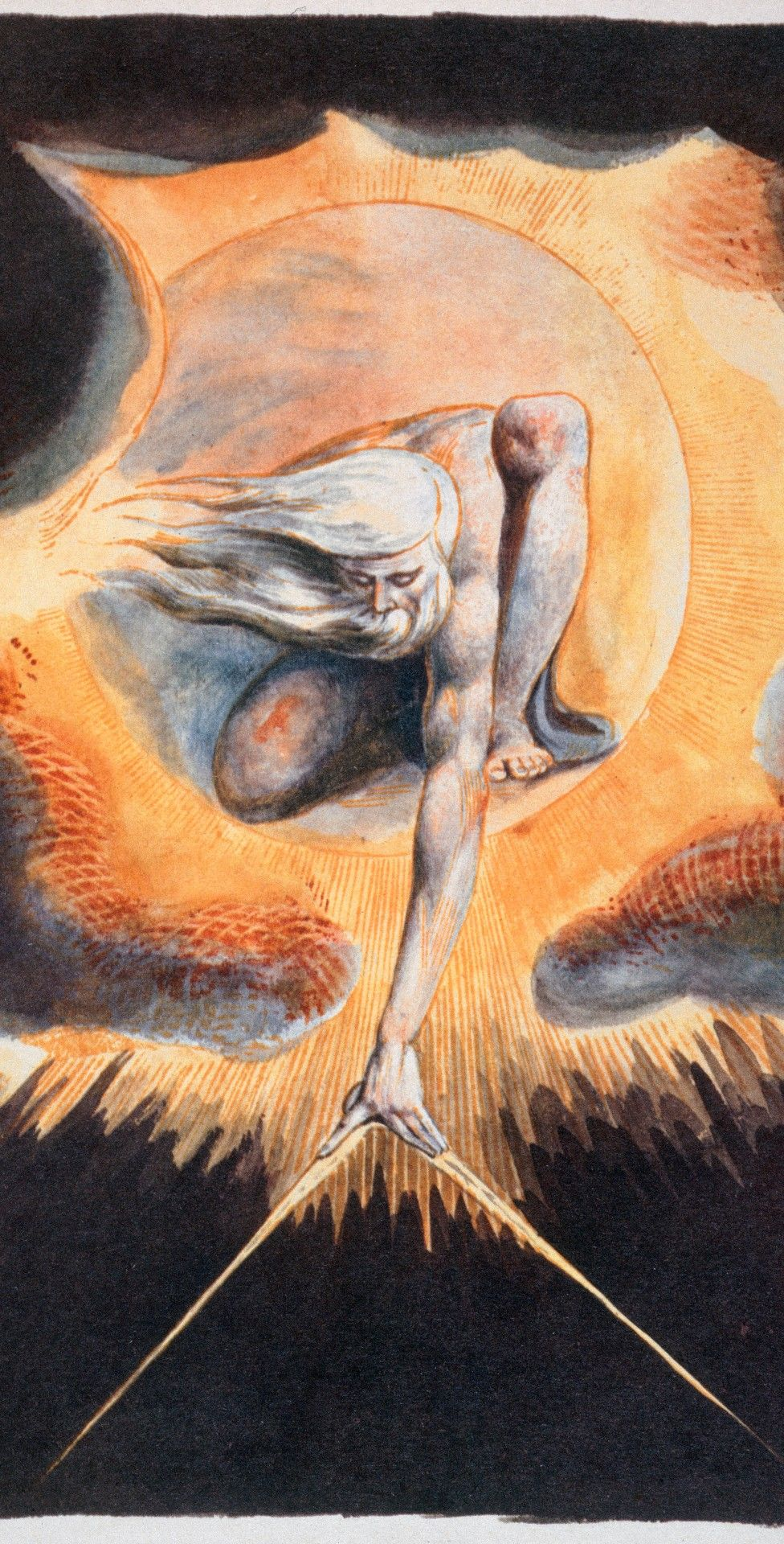 Urizen measures out the material world in The Ancient of Days, taken from Europe a Prophecy by William Blake