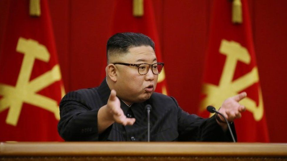 A photo released by North Korea's official KCNA news agency shows North Korean leader Kim Jong-un at a meeting of the Workers Party in Pyongyang. Photo: 18 June 2021