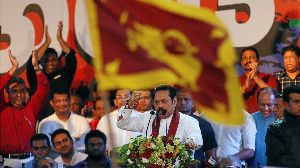 Mahinda Rajapaksa speaks at a rally on November 5 in Colombo, near parliament