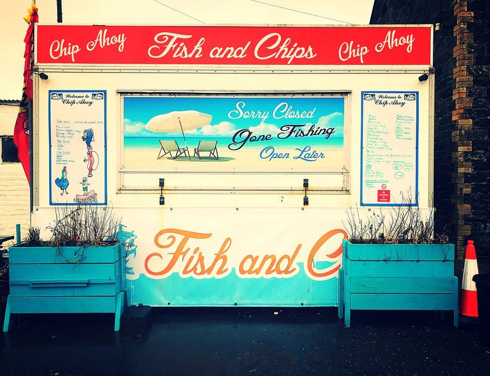 A fish and chips stall in Portpatrick, Scotland.