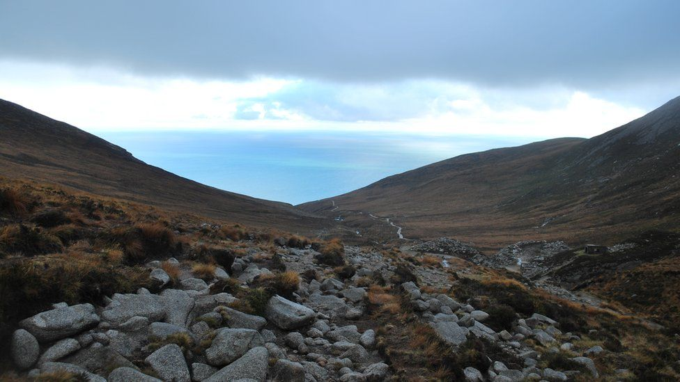 The Mourne Mountains sweeping down to the sea