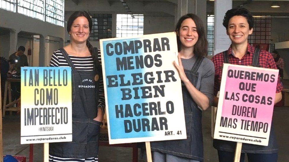 Club de Reparadores founders from left to right: Melina Scioli, Marina Pla and Julieta Morosoli