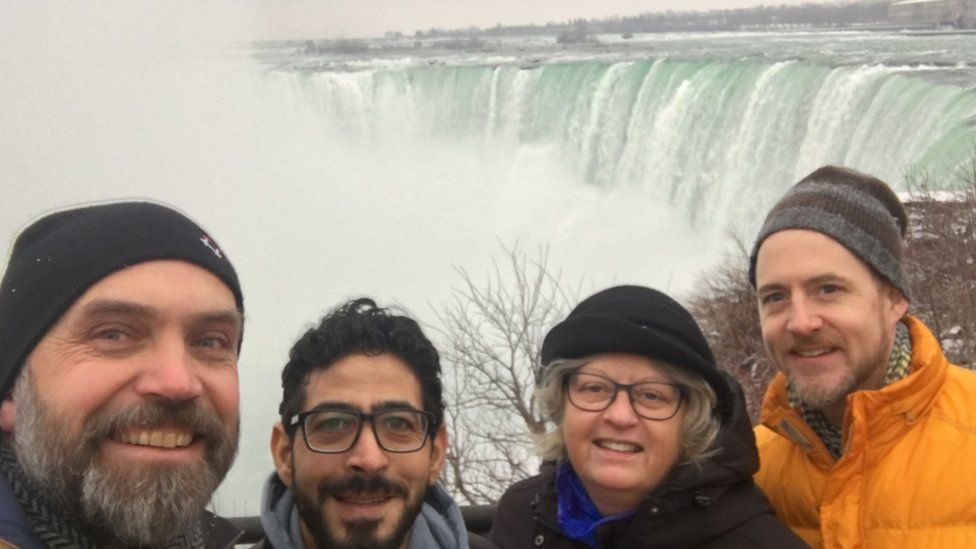 Hassan Al -Kontar and his three musketeers: Andrew Brouwer, Laurie Cooper and Stephen Watt at Niagara Falls